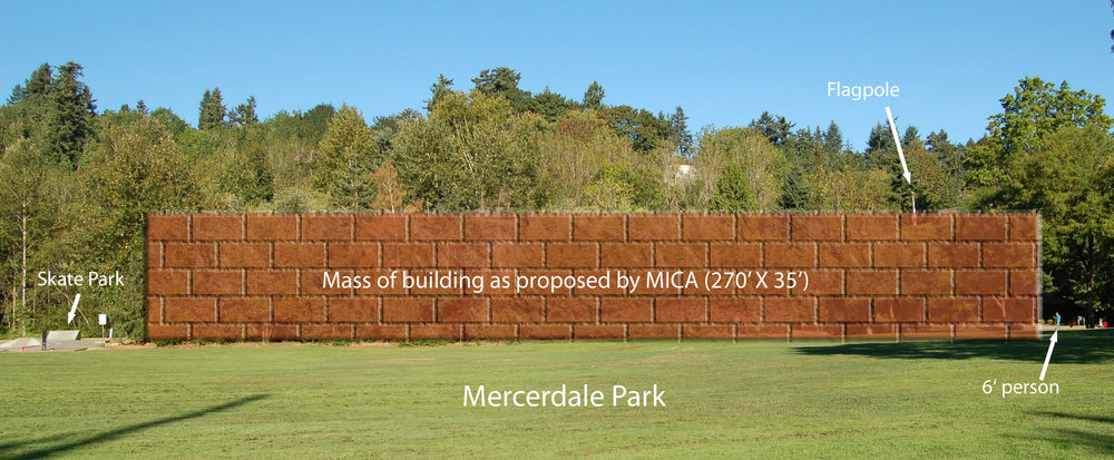 Mercerdale Park with mock-up of proposed building's dimensions