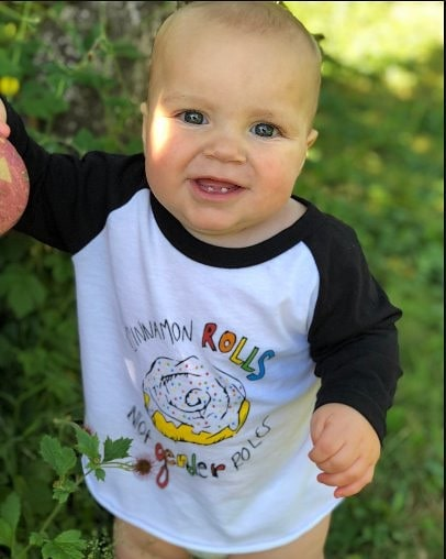 need a monday morning pick-me-up? ☕ look at that angelic face and try not to smile back! 🖤 we have a little something for the whole family: sweet Levi is rocking our cinnamon rolls not gender roles baseball tee. 🍼❤️🧡💛💚💙💜🖤 . . . #dfrntpigeon #baby #babyclothes #unisex #unisexbabyclothes #toddler #toddlerfashion #unisextoddlerclothes #babyfashion #babystyle #gender #genderqueer #genderroles #cinnamonrolls #queer #queerfashion #lgbt #lgbtqia #lgbtq #unisexfashion #ootd #outfit #portland #pdx #portlandstyle #babiesofinstagram #babies