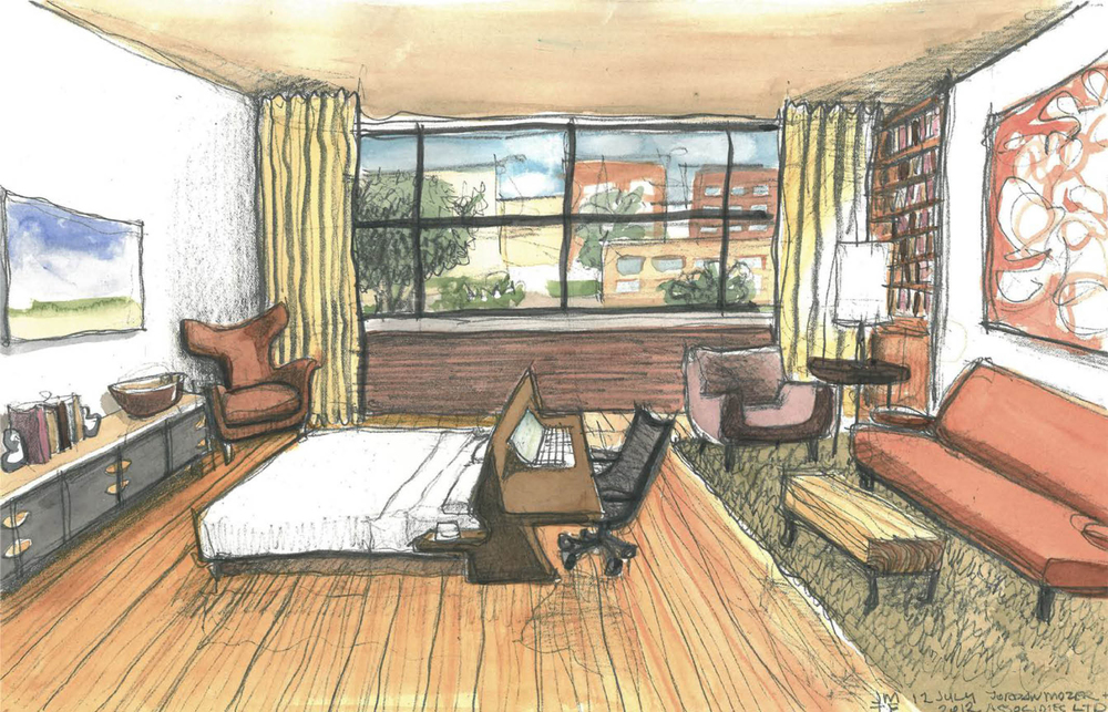 Watercolor Study of Bedroom