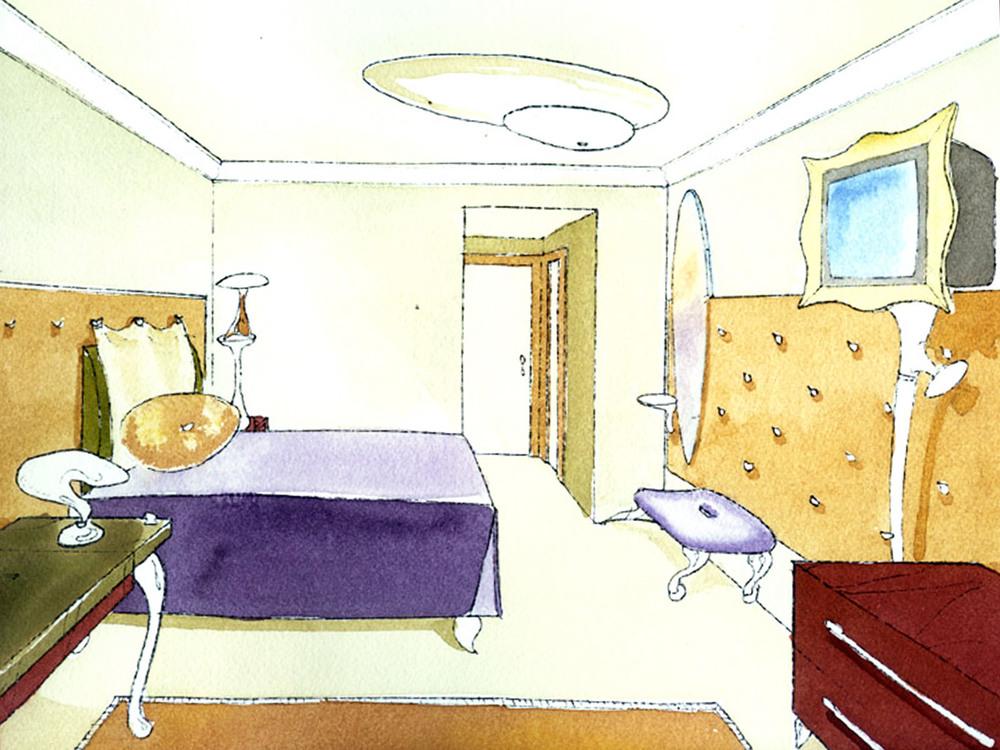 Hotel Room Watercolor Study