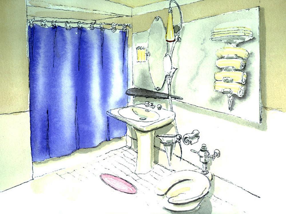 Bathroom Watercolor Study
