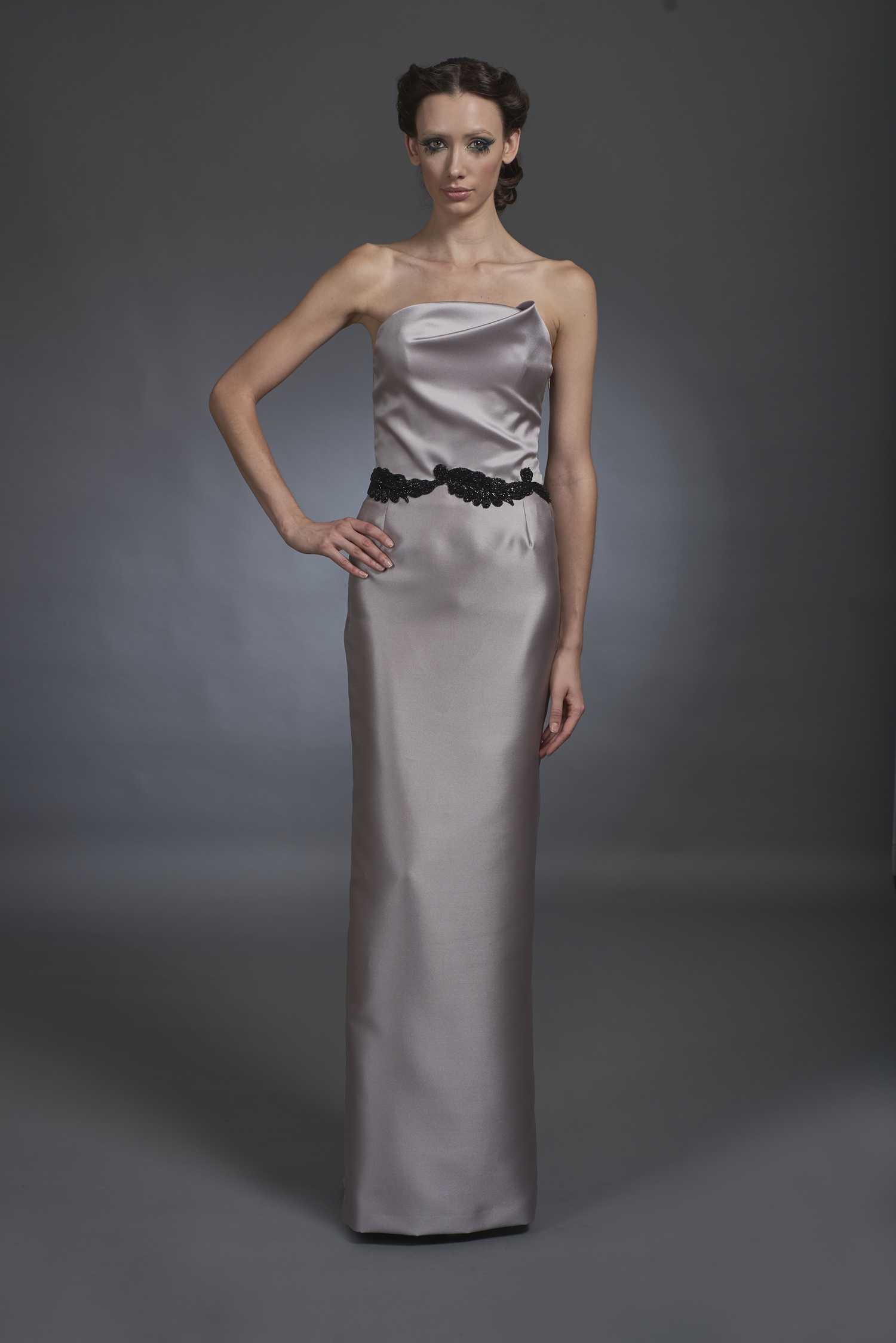 Taupe Strapless Gown — Globa Moda