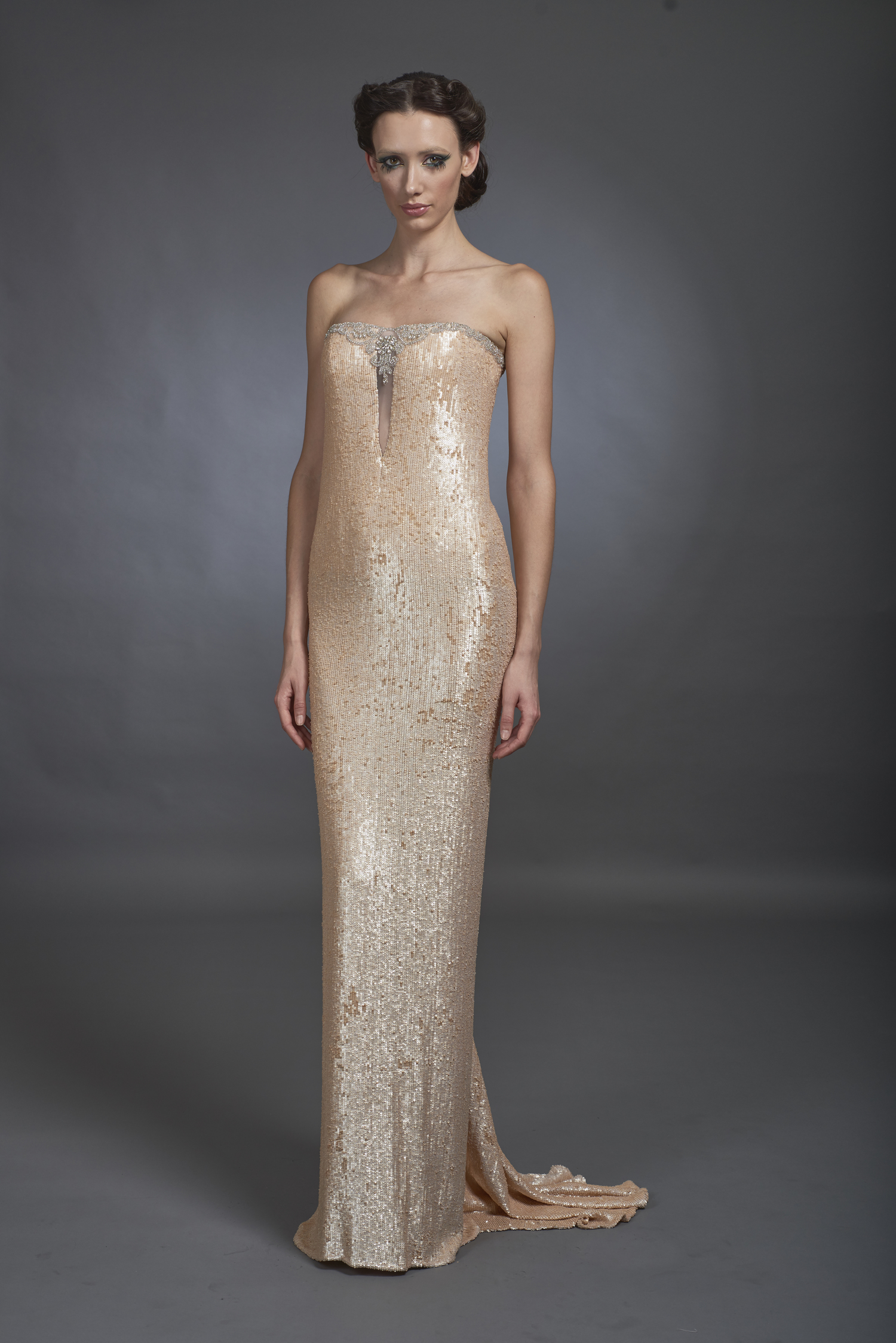 Strapless Flesh Tone Sequined Gown with Beaded Detail — Globa Moda