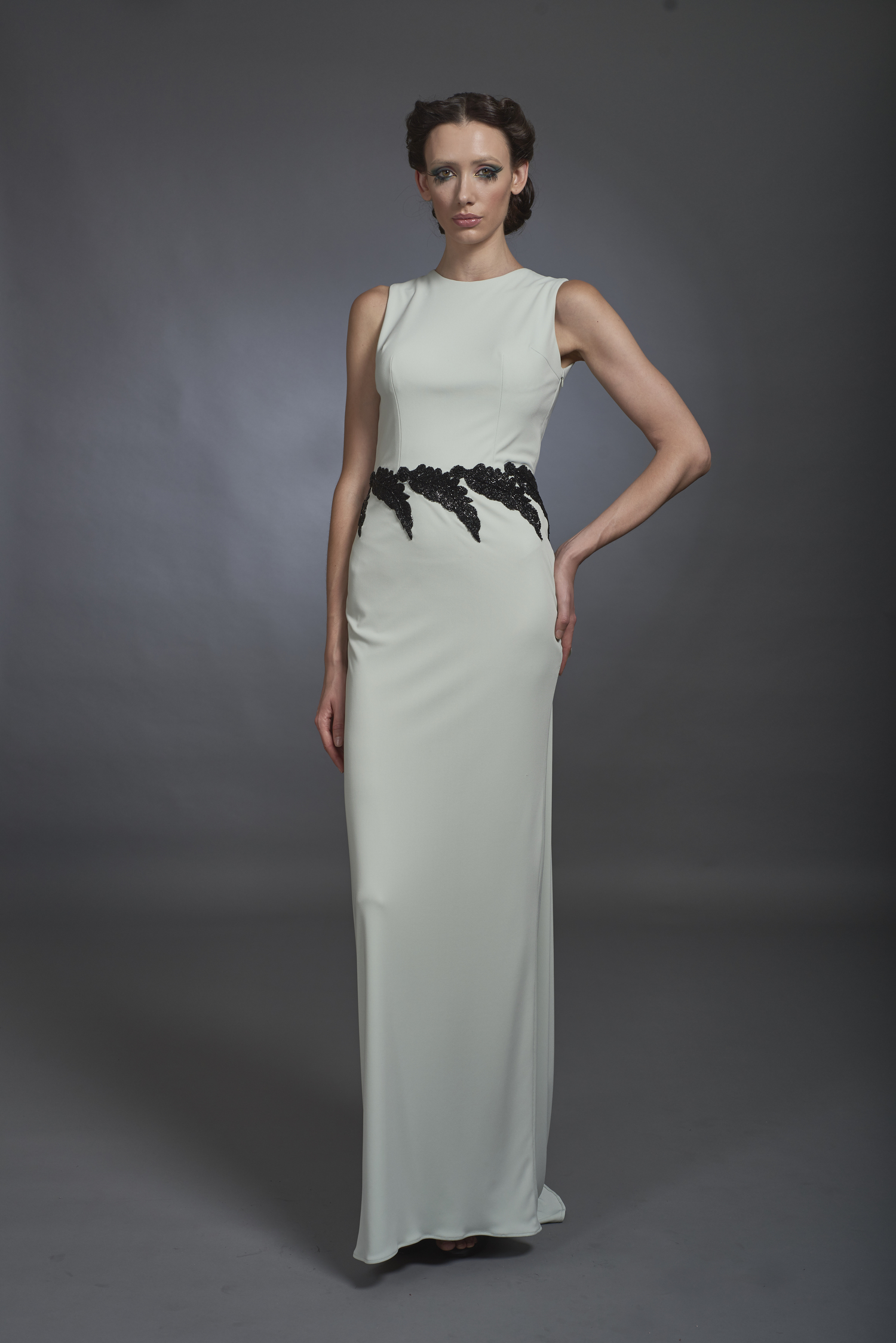 Mint Jersey Gown with Beaded Details — Globa Moda