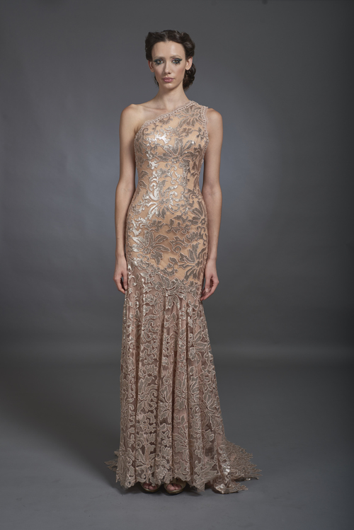 Flesh Tone One Shoulder Beaded Lace Gown — Globa Moda