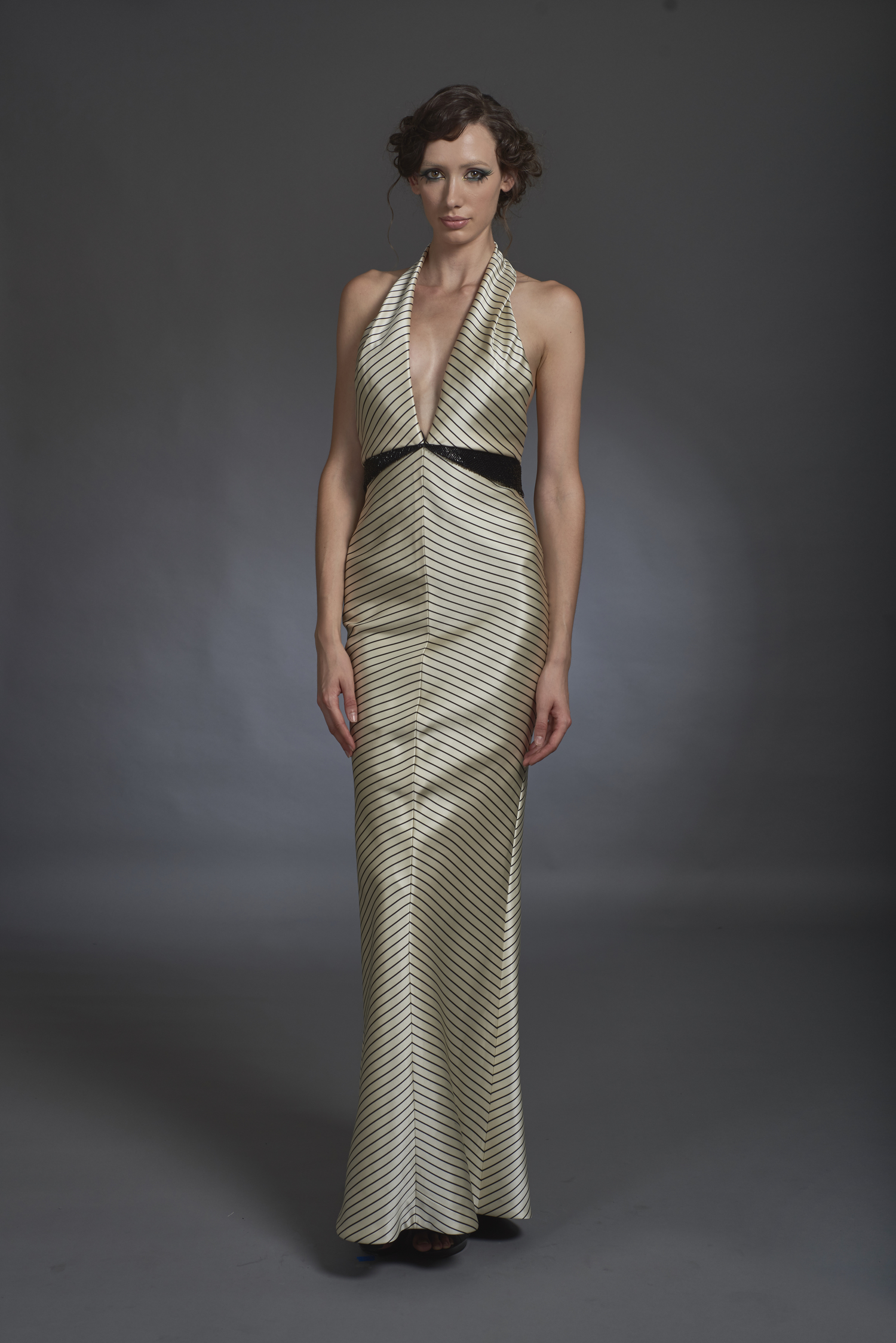 Black and White Halter Gown — Globa Moda