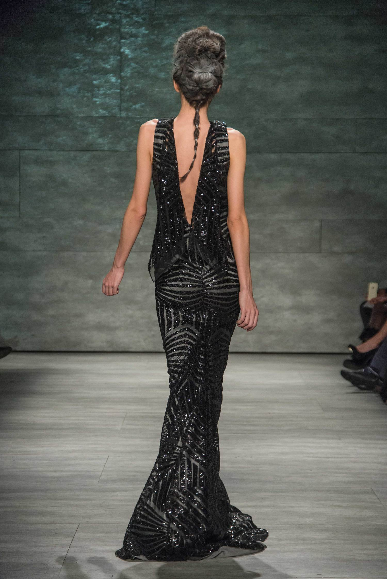 Black Art Deco Gown with Crystal Detail — Globa Moda