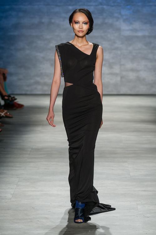 Asymmetrical black matte jersey gown with Preciosa crystals — Globa Moda