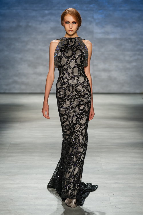 Black Backless sequin gown with preciosa crystal straps — Globa Moda