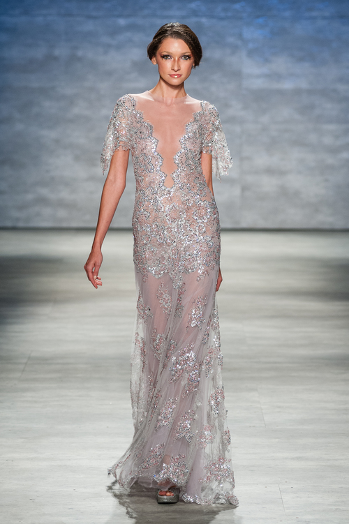 Short Sleeved Soft Pink & Silver Gown with Plunging Neckline — Globa ...