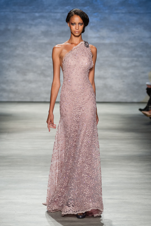 Soft Pink One Shoulder Metallic Lace Sequin Gown with Crystal Detail ...