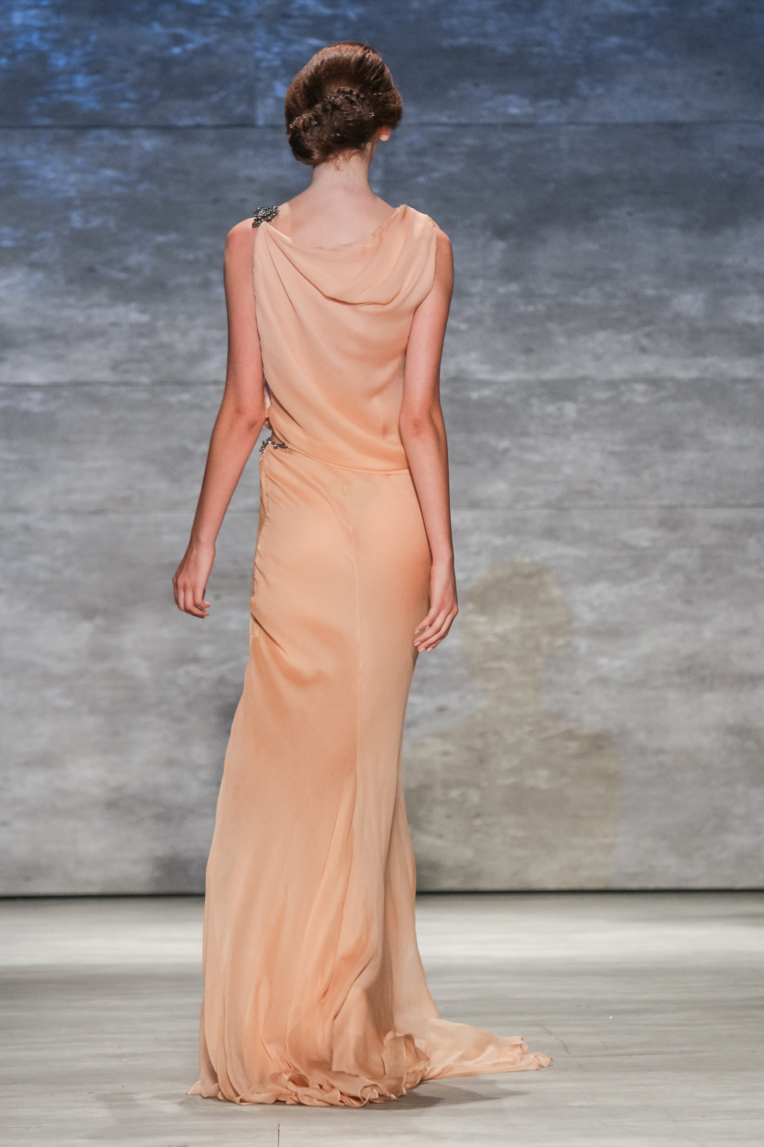 c94dc4838f7f Peach Crinkle Chiffon Gown with Exposed Waist & crystal detail ...