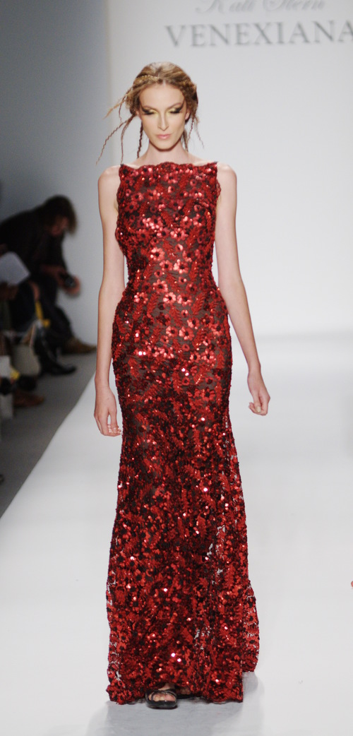 Red and Black Sequined Gown — Globa Moda
