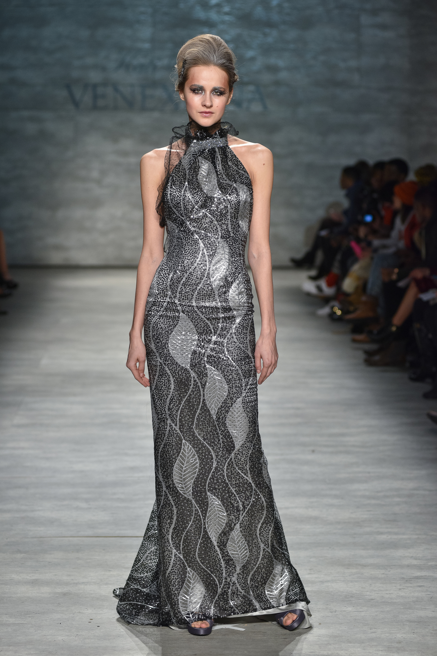 Black and Silver Sequin Gown with Crystal Detail — Globa Moda