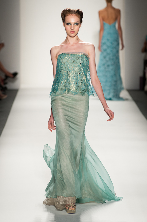 Strapless Aquamarino evening gown with metallic gold threading ...