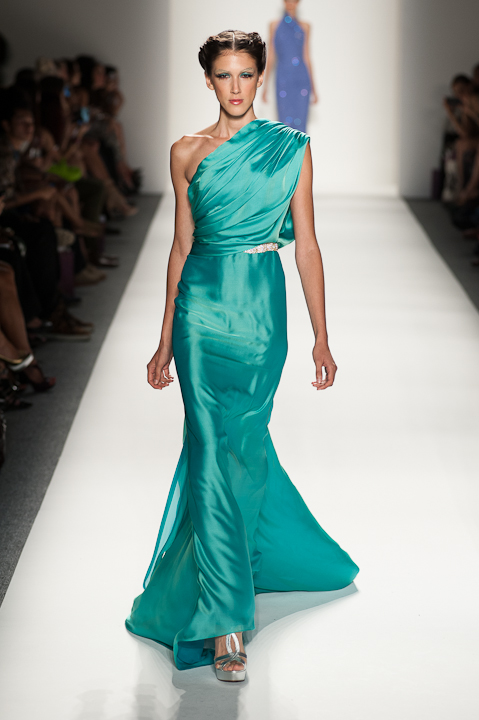 One shoulder turquoise evening gown with crystal belted waist ...