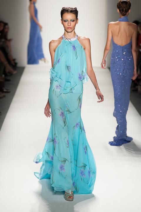 Turquoise Floral Print Blouson Evening Gown — Globa Moda