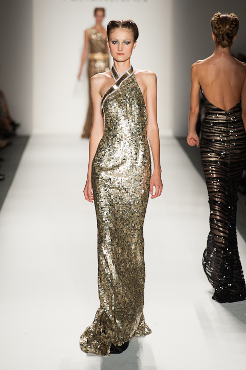 One Shoulder Gold Sequin and Black Mesh evening Gown — Globa Moda