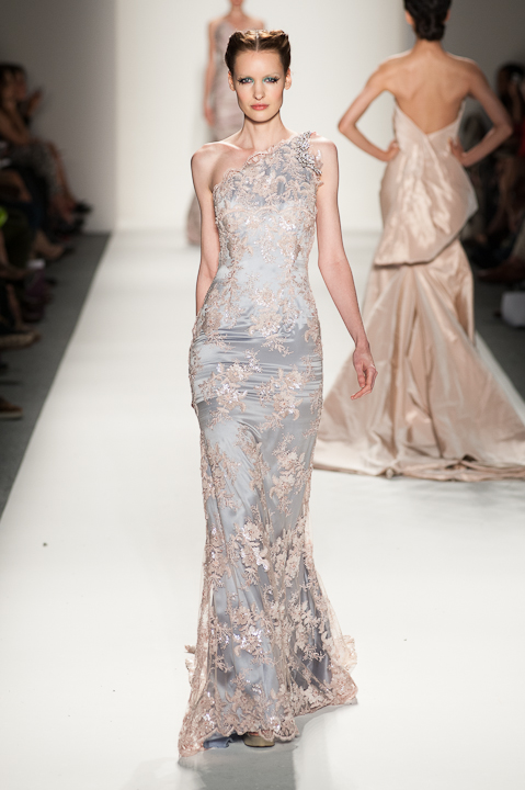 One Shoulder Lavender And Blush Sequined Lace Evening Gown Globa Moda