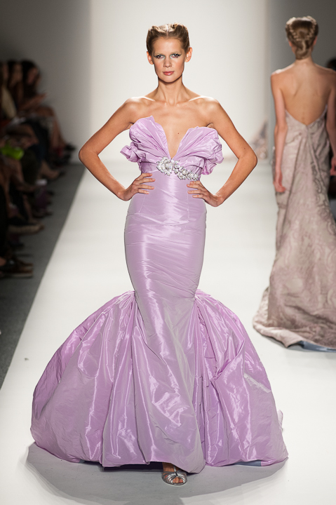 Strapless Iridescent lavender evening gown — Globa Moda