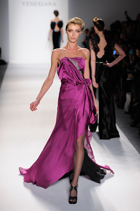 Fuchsia silk chiffon strapless evening gown with crystal detail ...