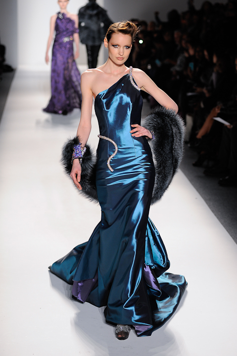 Deep teal satin evening gown with crystal detail & teal tinted fox ...