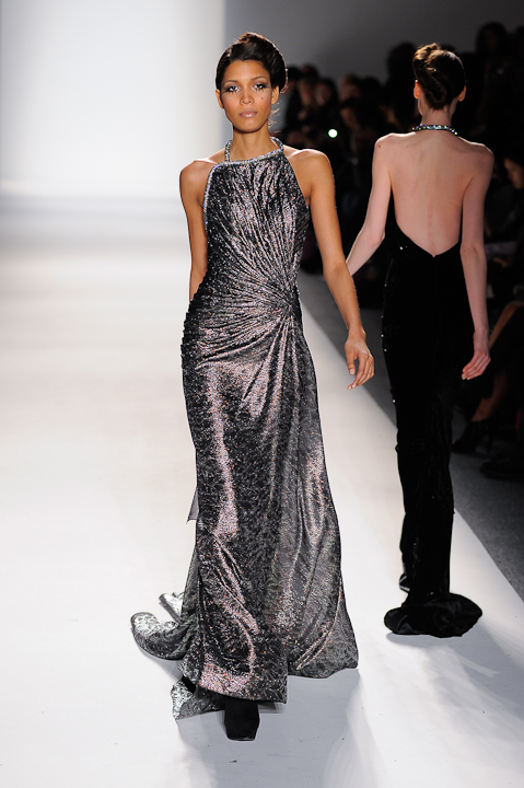 Black & pewter metallic laced evening gown with crystal strap ...