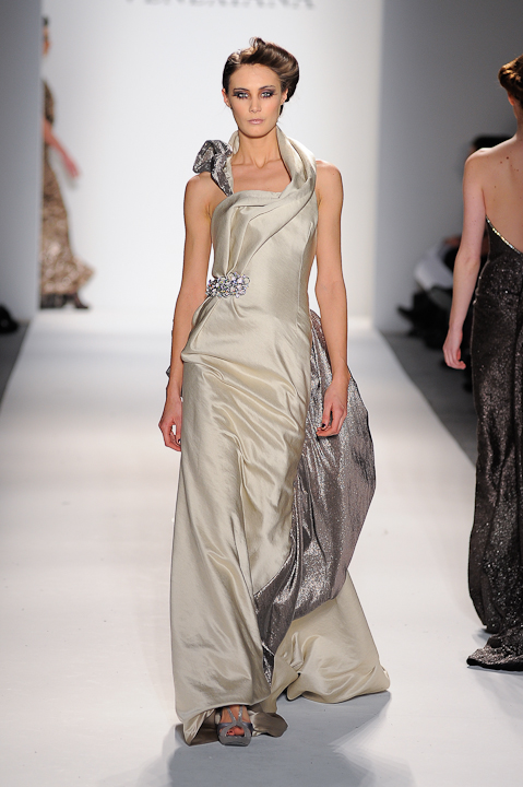 Frosted silver and reverse pewter evening gown with crystal detail ...