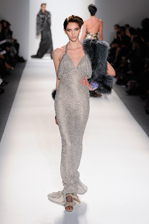 Frosted silver beaded evening gown with crystal strap & teal tinted ...