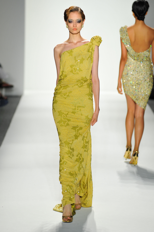 Moss Green One-Shoulder Gold Beaded Evening Gown — Globa Moda