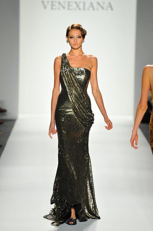 Sequin Antique Gold One-Shoulder Evening Gown — Globa Moda