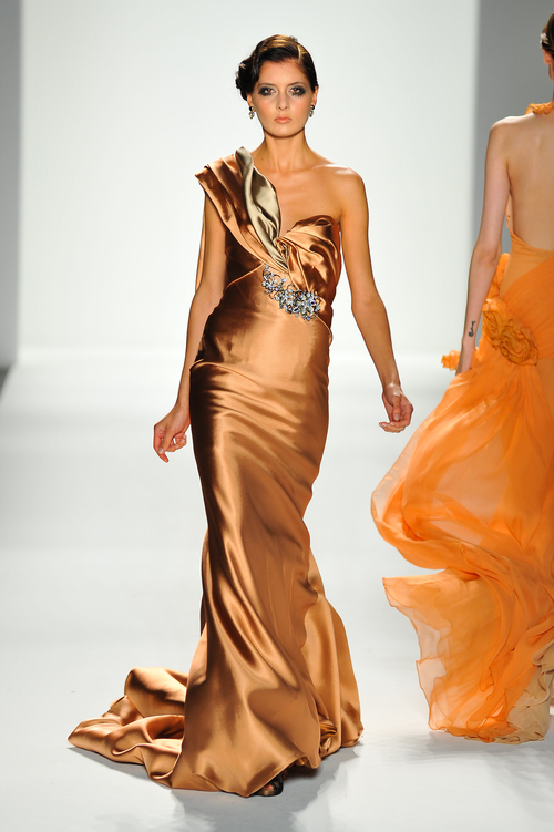 Apricot Satin/Silk Evening Gown with Crystal Detail — Globa Moda