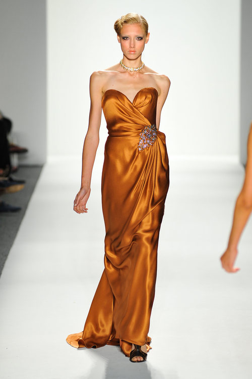 Copper Satin/Silk Evening Gown with Crystal Detail — Globa Moda