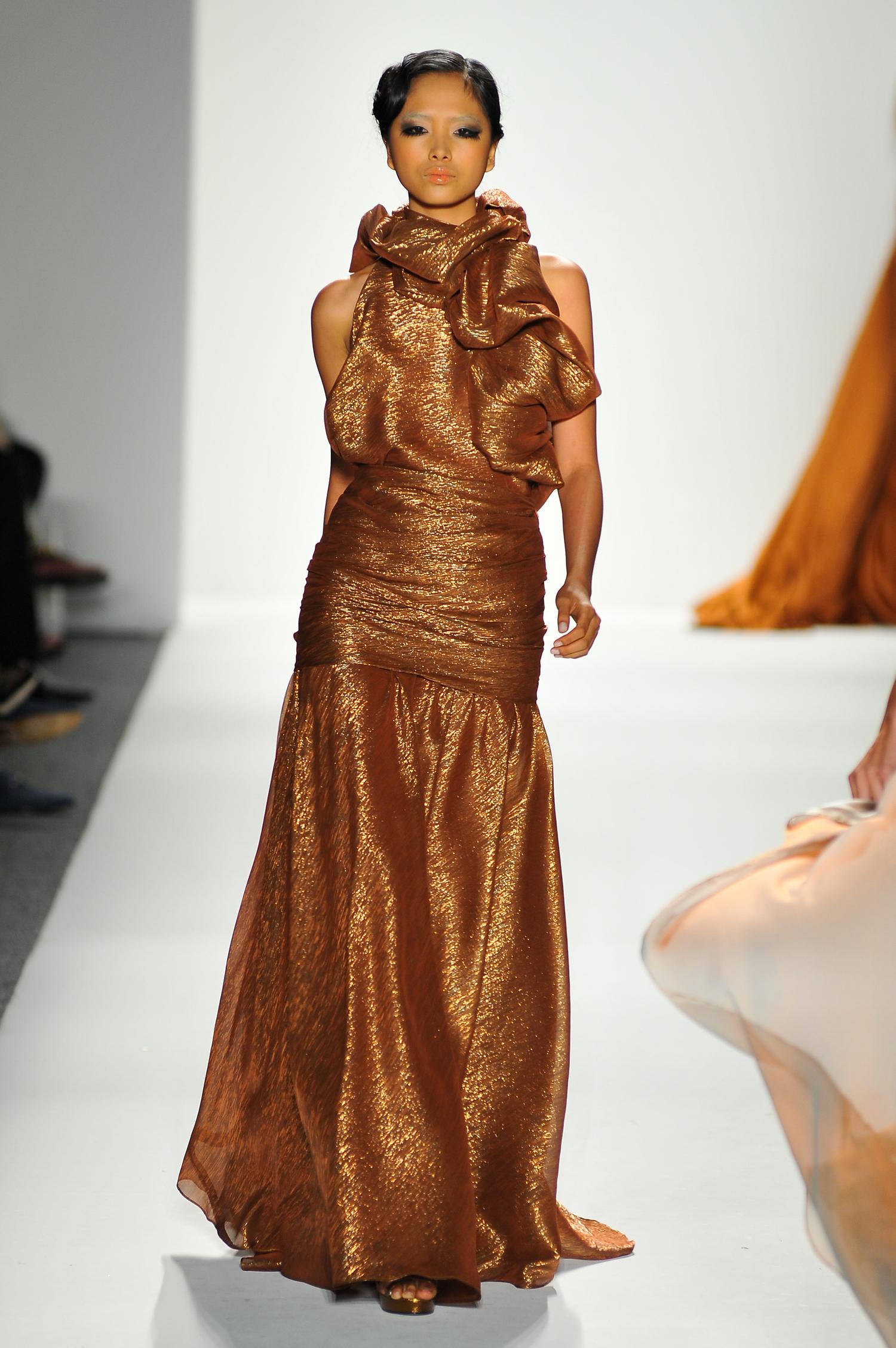 Bronze Silk Chiffon Metallic Evening Gown — Globa Moda