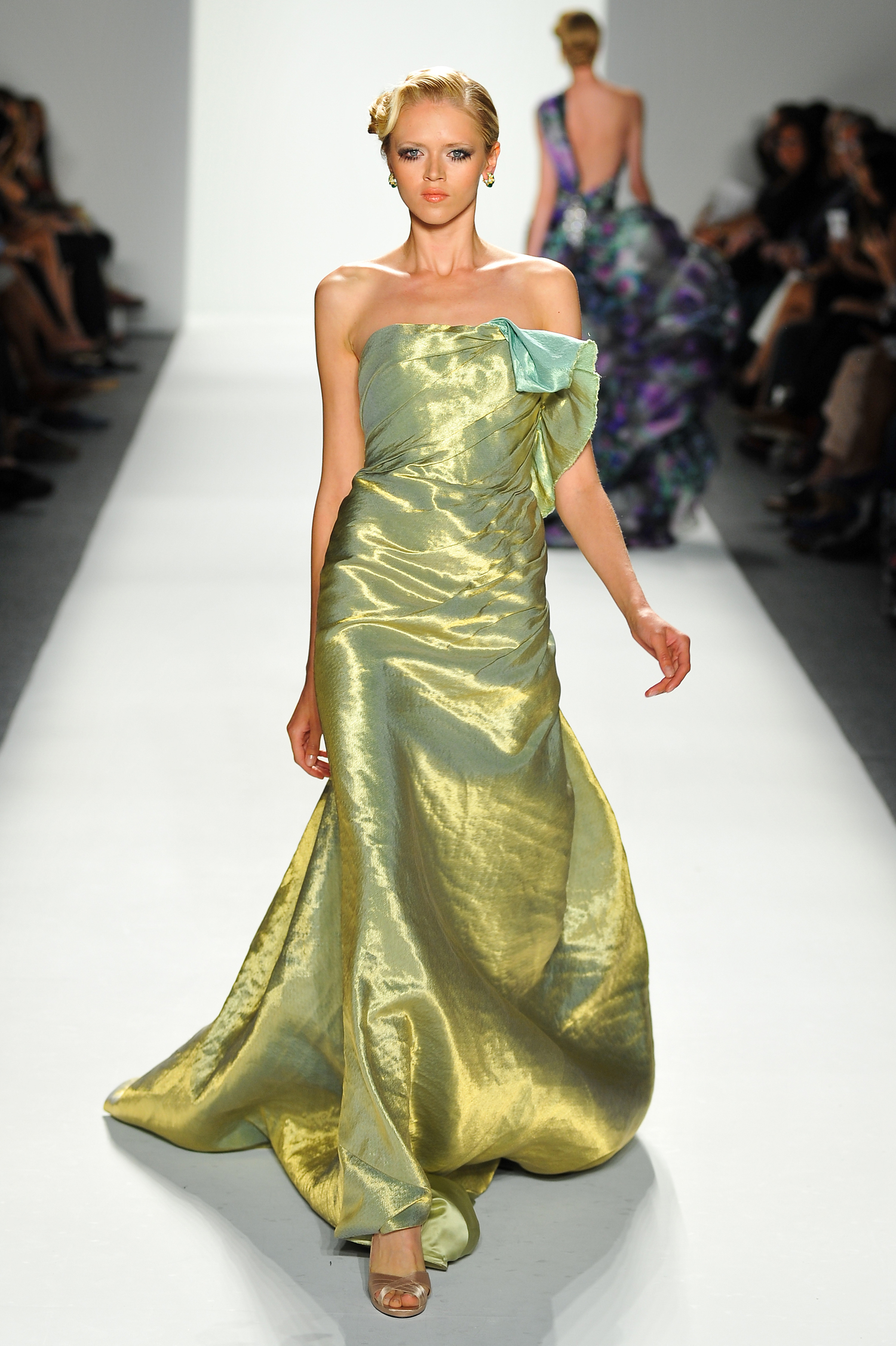 Metallic Gold/Aqua Evening Gown — Globa Moda