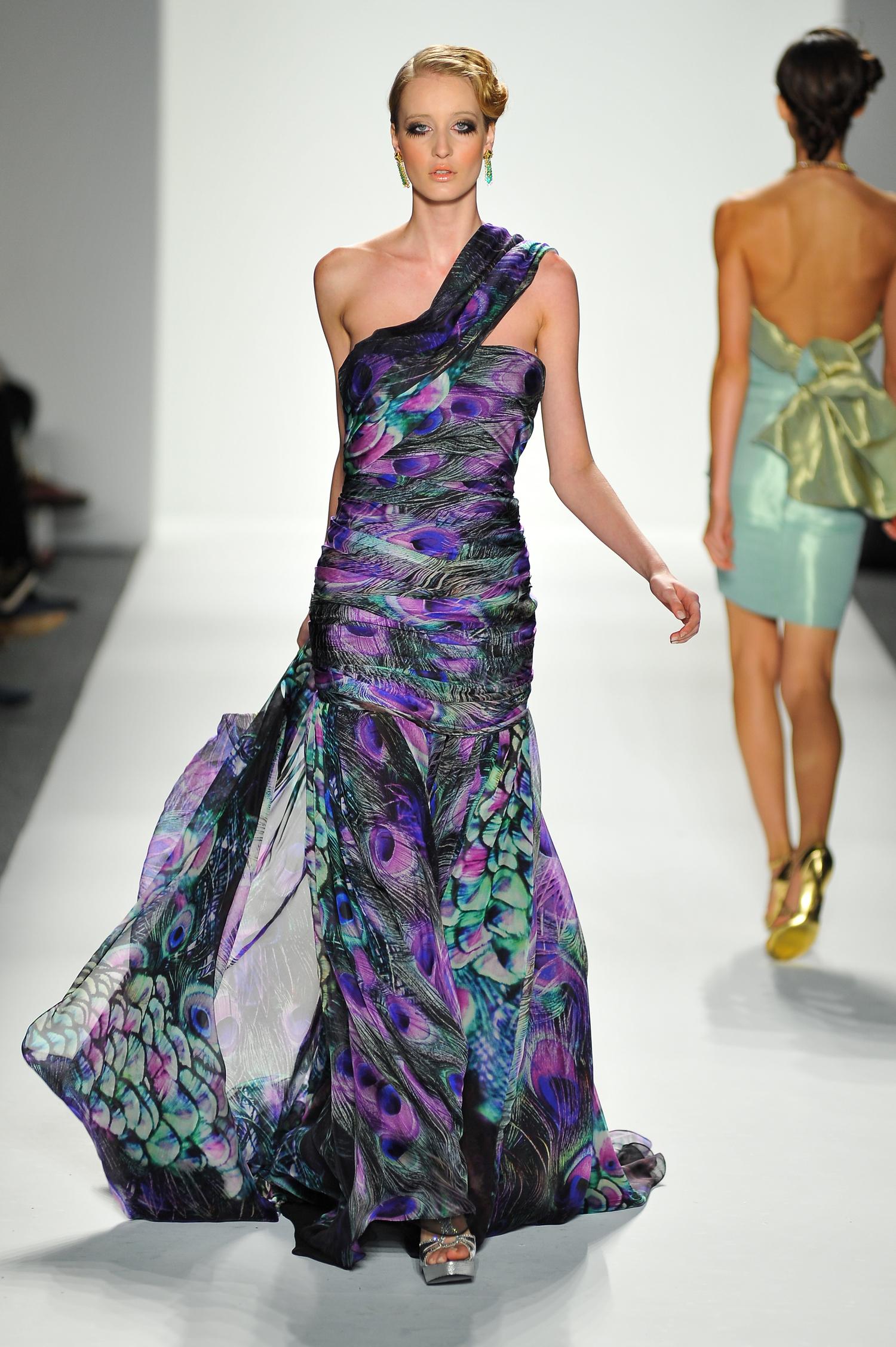 Multicolored Silk Chiffon Evening Gown — Globa Moda