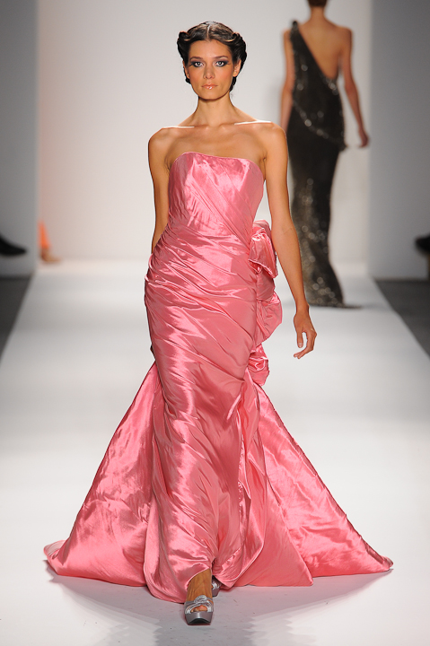 Strapless iridescent pink taffeta evening gown with ruffled train ...
