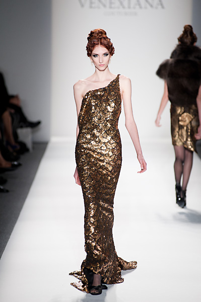 Blackgold Sequined One Shoulder Evening Gown Globa Moda