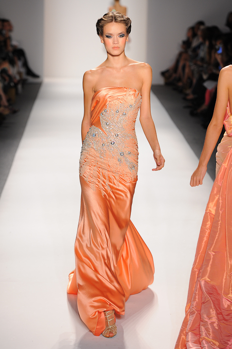 Strapless pastel coral evening gown with crystal beading — Globa Moda