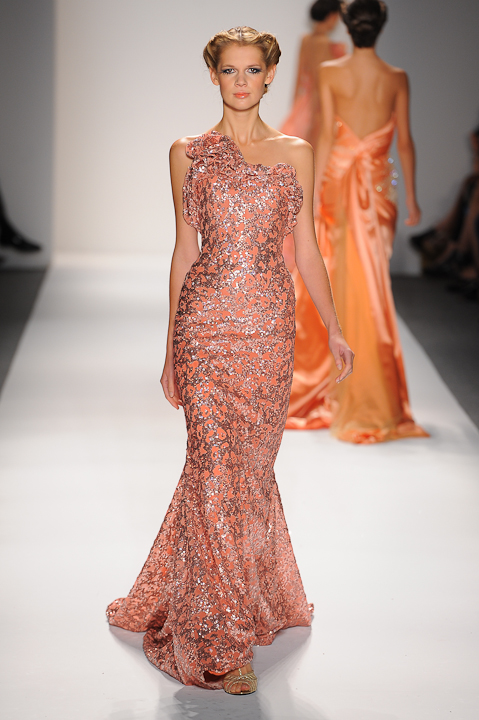 9bd603f3a1ce Strapless coral evening gown with copper sequins — Globa Moda