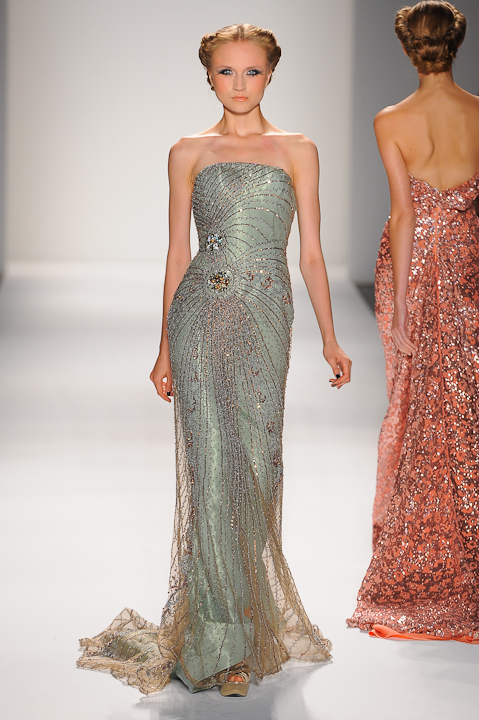 0909a11b7008 Strapless sage evening gown with copper and silver embellished netting