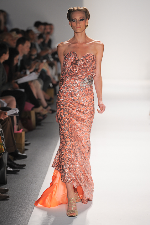 e2aead4f531b Strapless coral evening gown with copper sequins and crystal appliqué at  waist