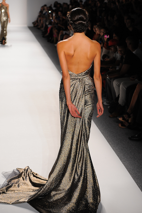 e091397153 Strapless metallic evening gown with half draped bodice and crystal chain  detail — Globa Moda