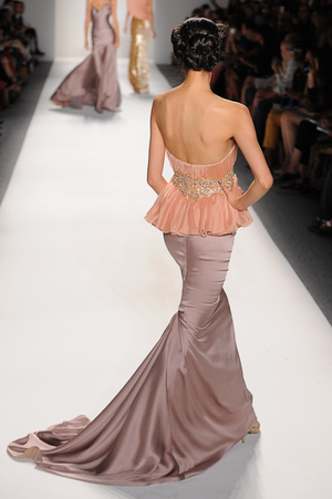 aef163bdaa Soft peach draped chiffon bodice with crystal waist detail and lavender  skirt ...