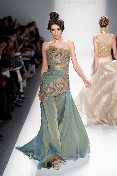 Lace Overlay Evening Dress