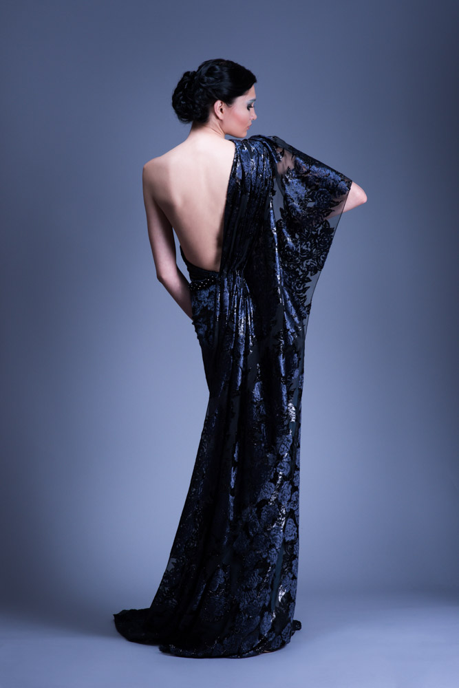 Voided Silk Velvet One Shoulder Evening Gown with Crystal Belt ...