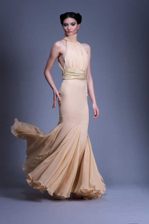 Powder Silk Chiffon Pleated Gown with Floral Satin Gown — Globa Moda