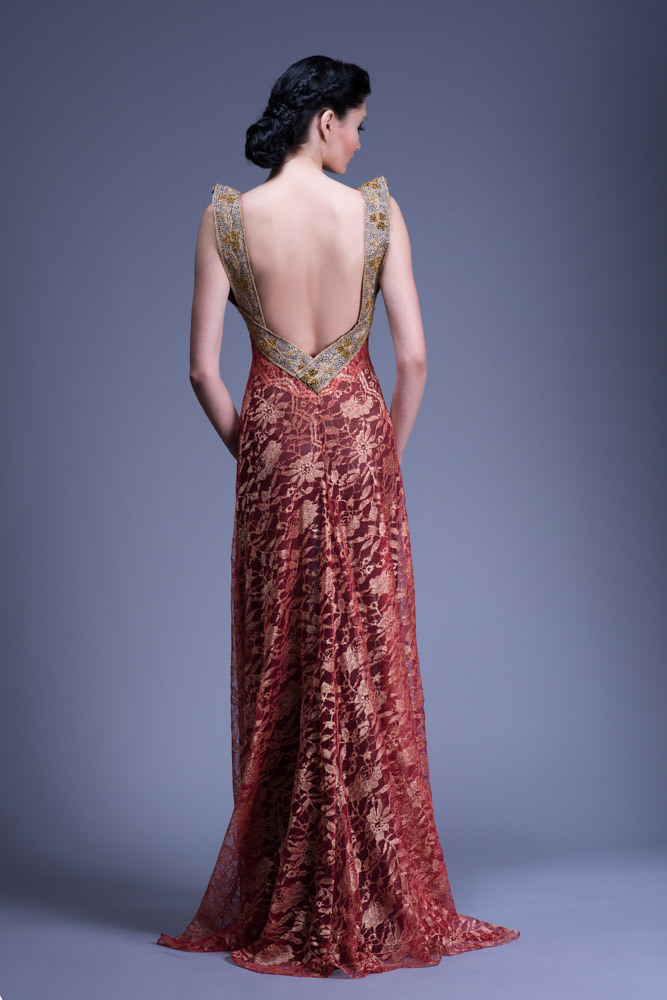 Lipstick Red and Gold Lace Gown with Gold Shoulder Strap Detail ...