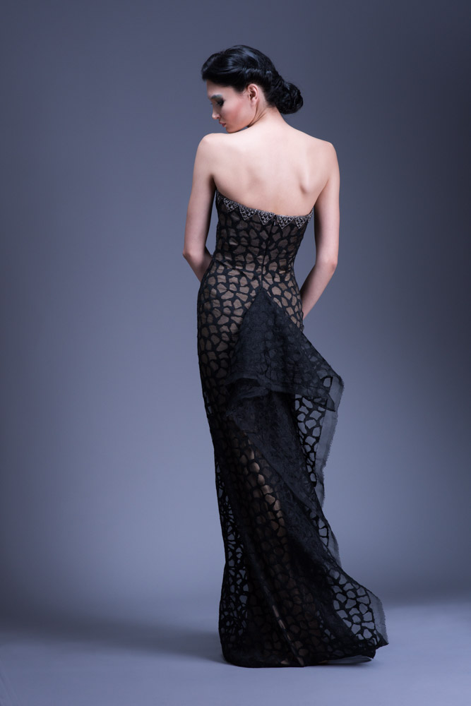 Black Strapless Organza Gown with Crystal Detail — Globa Moda