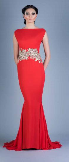 Red Silk Chiffon Evening Gown with Platinum Appliqués — Globa Moda